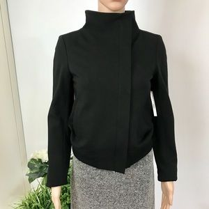 Theory Ellet Black Fabric Moto Jacket